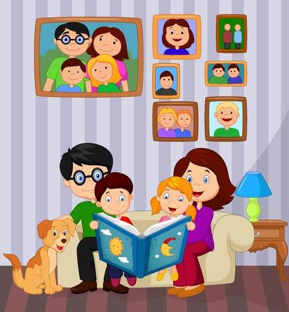 perro familia: Familia feliz sentado en el sofá