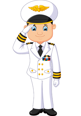 airline pilot: male pilot cartoon Illustration