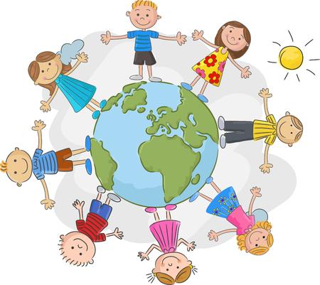 世界のサークルで世界の子供たち  イラスト・ベクター素材