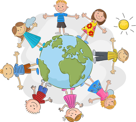 planet earth: The worlds children in a circle in the world Illustration