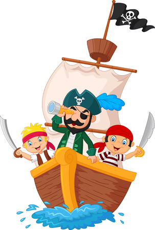 Cartoon little pirate was surfing the ocean.vector illustration 向量圖像