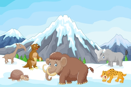 collection of ice age animals animals against a backdrop of icebergs Illustration
