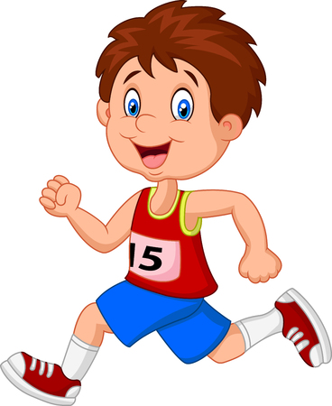 boys happy: Cartoon boy follow the race Illustration