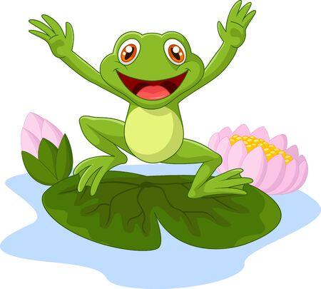 smiling frog: Cartoon frog waving