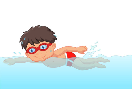 Cartoon little boy swimmer in the swimming pool
