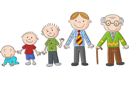 aging: Aging people, Men at different ages. Hand drawn cartoon men, sketch Illustration