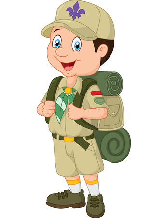 Cartoon little boy scout Иллюстрация
