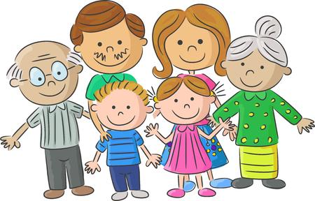 mom dad: Ilustración cuidado de la familia completa de los padres con los niños