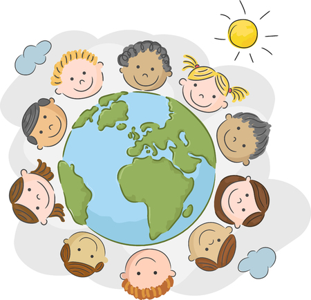 teamwork cartoon: children world over white background
