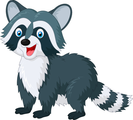 racoon: Raccoon cartoon waving