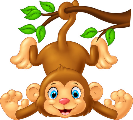 Cartoon cute monkey hanging on tree branch