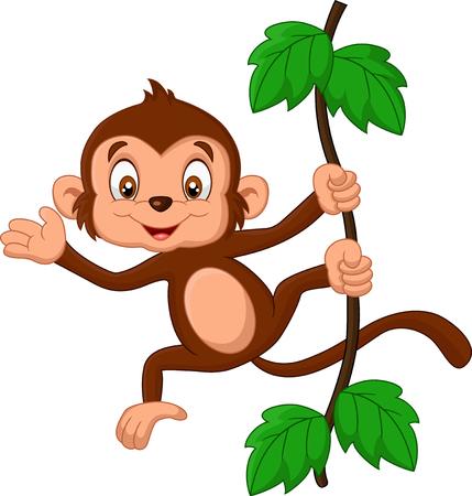 thumping: Cartoon baby monkey waving