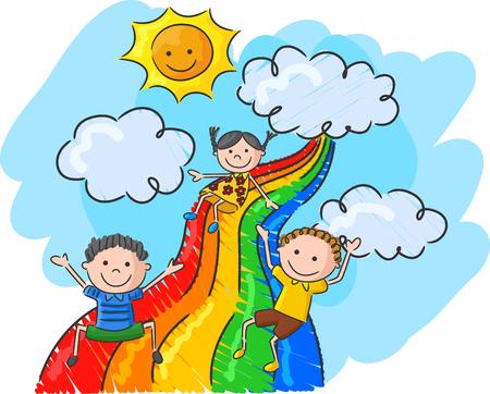 Cartoon little kids playing slide rainbow Vectores