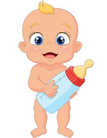 bebekler: Şişe tutan karikatür bebek Çizim