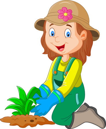 cartoon illustration she was plants in the garden Ilustração