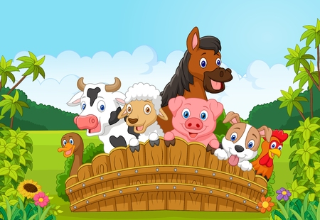 Collection farm animals in the forest