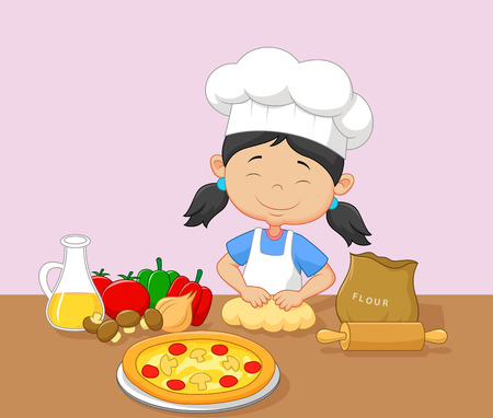 cook cartoon: Cartoon little girl baking Illustration
