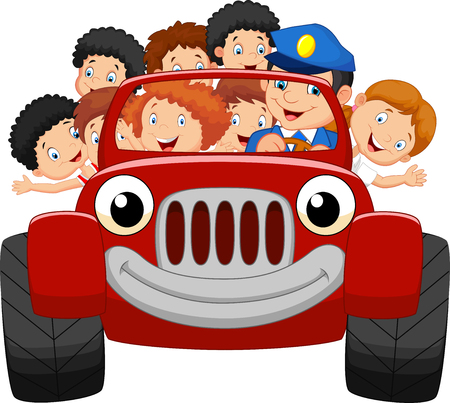 comics car: Cartoon little kid happy with red car Illustration