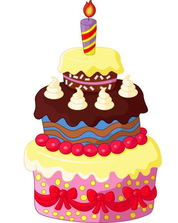 pastel de cumpleaños: Torta de cumpleaños de dibujos animados Vectores