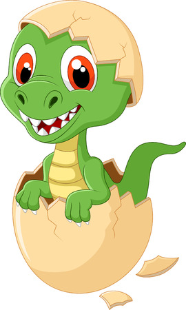 dinosaur cute: Cute dinosaur cartoon hatching Illustration