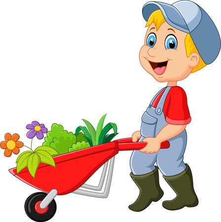 wheelbarrow: Cartoon little boy holding wheelbarrow