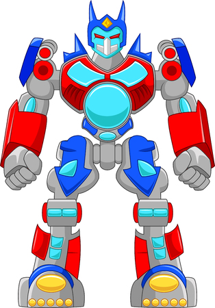 vector control illustration: Cartoon strong robot and colorful