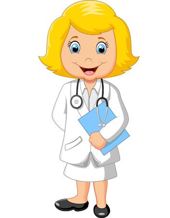 caricatura: Lindo peque�o doctor femenina