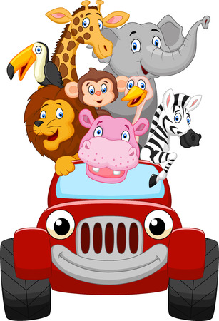 cute animal cartoon: Cartoon happy animal with red car