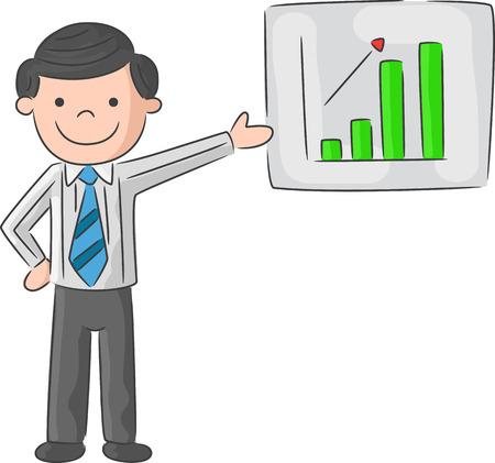 top pointer: Cartoon man is explaining the presentation