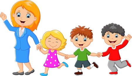 bebes ni�as: Familia feliz de dibujos animados