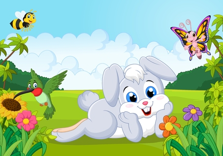 butterfly flower: Cartoon cute bunny in the jungle