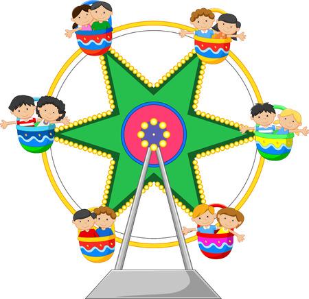 little child: cartoon little child in the Ferris Wheel