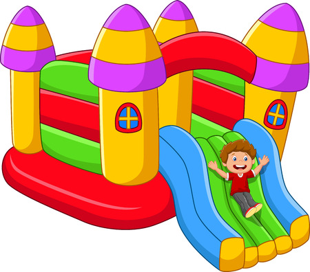 Cartoon little kids playing on the inflatable balloon