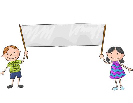 niños con pancarta: Cartoon niños pequeños que sostienen la bandera