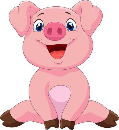 Cartoon adorable baby pig,vector illustration  イラスト・ベクター素材