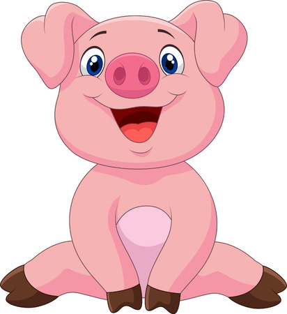 Cartoon adorable baby pig,vector illustration Иллюстрация