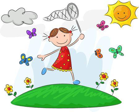 nets: Cartoon little girl holding nets