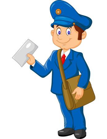 Cartoon postman holding mail and bag 일러스트