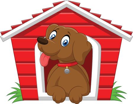 cartoon dog: Cartoon adorable dog in the cage