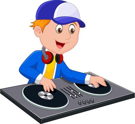 dj boy: Cartoon DJ boy on white background