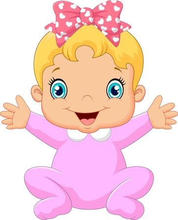 posing: Cartoon happy baby posing