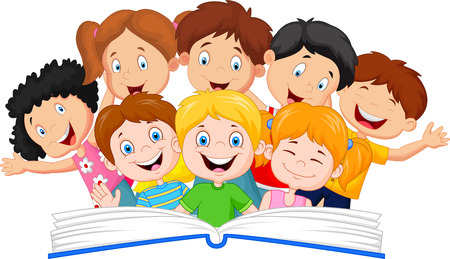 brother and sister cartoon cartoon little kid reading book funny - Cartoon Kid Images
