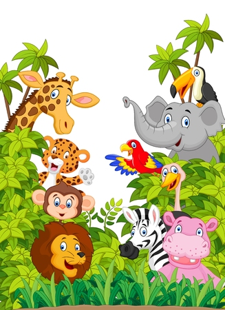 funny animals: Cartoon collection animal of zoo