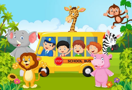 cartoon bus: Cartoon school children on safari