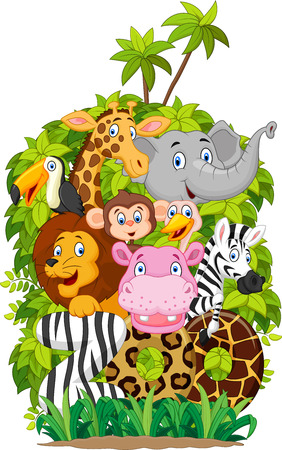 Colección de dibujos animados de animales de zoológico Ilustración de vector