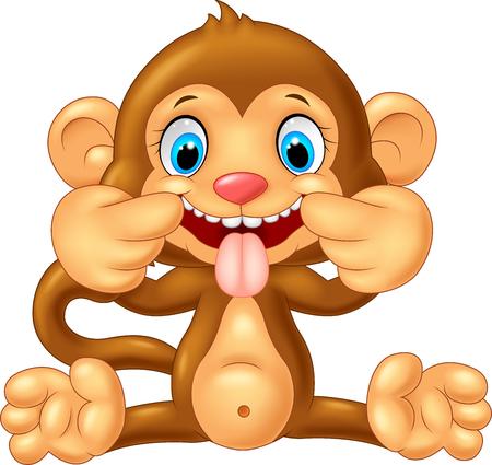 Cartoon aap maken van een plagerige gezicht Stock Illustratie