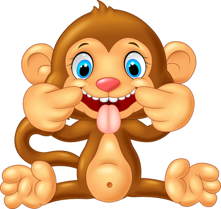 cute cartoon monkey: Cartoon monkey making a teasing face