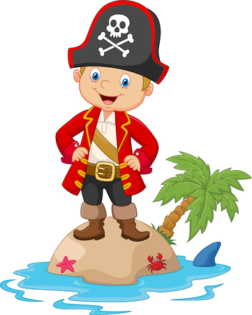 kid smile: Cartoon little boy pirate captain