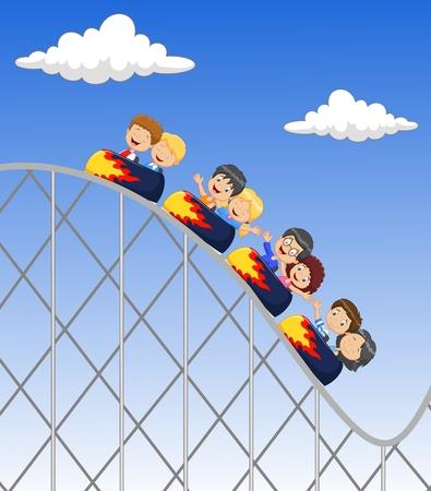 Cartoon little kid play in rollercoaster