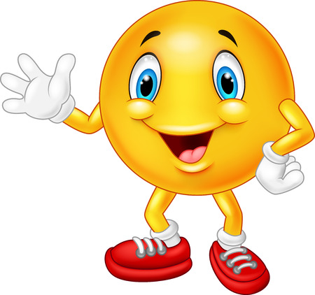 wave hello: Cartoon emoticon waving hand